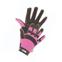 Manusi pentru gradina Marvel Rocky, material sintetic + poliester + spuma, roz + negru, marimea 7