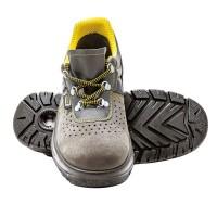Pantofi de protectie Panda ERG Lambada cu bombeu metalic, piele intoarsa, gri + galben, S1, marimea 45