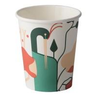 Pahar pentru cafea, carton biodegradabil, Biodeck Artwork, 240 ml, set 25 bucati