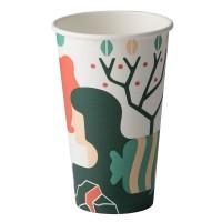 Pahar pentru cafea, carton biodegradabil, Biodeck Artwork, 480 ml, set 25 bucati