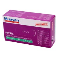 Manusi menaj Misavan fara pudra, marimea M, nitril, mov, 100 buc/set