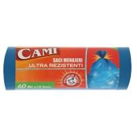 Saci menajeri / gunoi Cami, ultra rezistenti, albastru, 60L, 15 buc