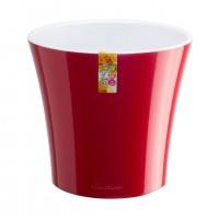 Ghiveci din plastic Arte, cu sistem de autoudare, rosu-alb, 1.2 L, D 13.5 cm