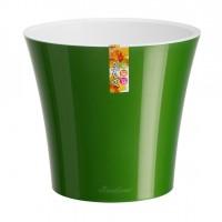 Ghiveci din plastic Arte, cu sistem de autoudare, verde-alb, 3.5 l, D 19.5 cm