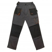 Pantaloni pentru protectie Classic Simplu, tercot, poliester + bumbac, gri inchis, negru, portocaliu, marimea 54