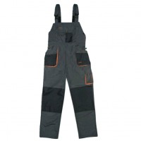 Pantaloni pentru protectie Classic, pieptar, tercot, poliester + bumbac, gri inchis, negru, portocaliu, marimea 48