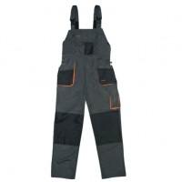 Pantaloni pentru protectie Classic, pieptar, tercot, poliester + bumbac, gri inchis, negru, portocaliu, marimea 58