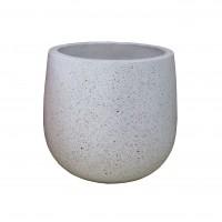 Ghiveci din ciment DHH005, cu suport metalic, rotund, 27 x 27 cm