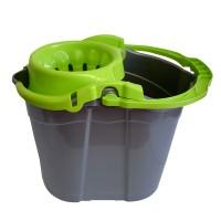 Galeata din plastic cu storcator Misavan, gri + verde, 14L