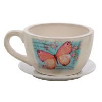 Ghiveci ceramic Cana cu suport, rotund, 19 x 12 cm