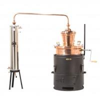 Cazan pentru tuica, cupru, basculant, cu amestecator / mixer si racitor din inox cu apa curenta, 100 L