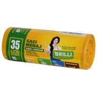Saci menajeri / gunoi Brilli, pentru colectare selectiva, super rezistenti, galben, 35L, 15 buc
