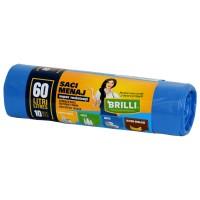 Saci menajeri / gunoi Brilli, pentru colectare selectiva, super rezistenti, albastru, 60L, 10 buc