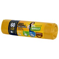 Saci menajeri / gunoi Brilli, pentru colectare selectiva, super rezistenti, galben, 60L, 10 buc