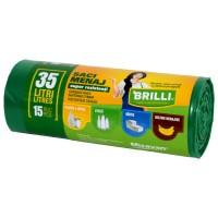 Saci menajeri pentru colectare selectiva super rezistenti verzi Brilli, 35L, 15 buc