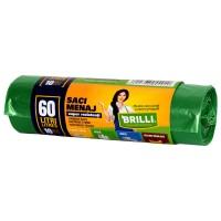 Saci menajeri / gunoi Brilli, pentru colectare selectiva, super rezistenti, verde, 60L, 10 buc