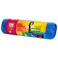 Saci menajeri / gunoi Brilli, pentru colectare selectiva, super rezistenti, albastru, 120L, 10 buc