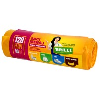 Saci menajeri / gunoi Brilli, pentru colectare selectiva, super rezistenti, galben, 120L, 10 buc
