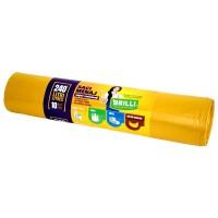 Saci menajeri / gunoi Brilli, pentru colectare selectiva, super rezistenti, galben, 240L, 10 buc