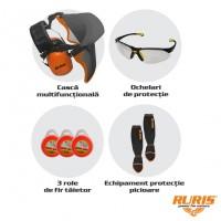 Kit pentru protectie la utilizarea motocoasei, Ruris, fir taietor + casti + ochelari + echipament protectie picioare