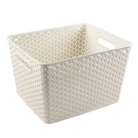 Cutie depozitare suprapozabila Rattan Curver, alb, 18 L, 335 x 295 x 220 mm