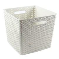 Cutie depozitare suprapozabila Rattan Curver, alb, patrata, 25 L, 323 x 320 x 281 mm