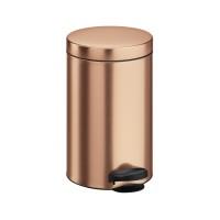 Cos gunoi Meliconi din metal, forma cilindrica, cupru, cu pedala si capac batant, 5L