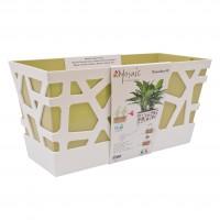 Jardiniera plastic Mozaic, interior / exterior, verde, 40 x 17 x 20 cm