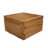 Ghiveci din lemn, patrat, natur, pentru interior, 52 x 52 x 30 cm