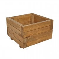 Ghiveci din lemn, patrat, natur, pentru interior, 34 x 34 x 20 cm