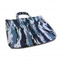 Sacosa din bumbac Sonic Clean, albastra, imprimeu camuflaj, 42 x 52 cm