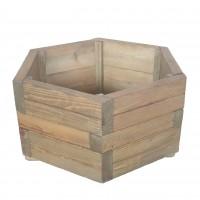 Ghiveci din lemn, hexagonal, natur, pentru interior / exterior, 68 x 68 x 32 cm