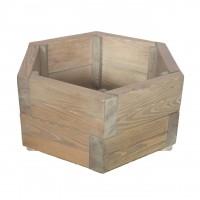 Ghiveci din lemn, hexagonal, natur, pentru interior / exterior, 46 x 46 x 22 cm