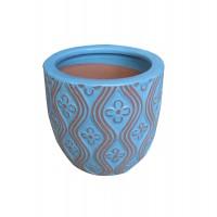 Ghiveci ceramic, turcoaz, rotund, 19.5 x 17.5 cm