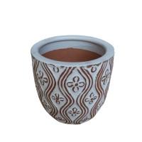 Ghiveci ceramic, alb, rotund, 19.5 x 17.5 cm
