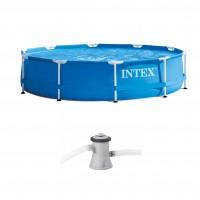 Piscina cu cadru metalic Intex 28202NP, rotunda, cu pompa de filtrare, 305 x 76 cm