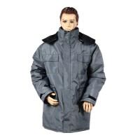 Jacheta de iarna Alex, vatuita, fas, gri, cu buzunare si gluga, marimea 52