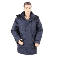 Jacheta de iarna Alex, vatuita, fas, bleumarin, cu buzunare si gluga, marimea 52
