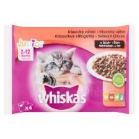 Hrana umeda pentru pisici Whiskas, junior, selectie de carne, 4 x 100g