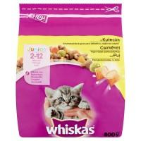 Hrana uscata pentru pisici, Whiskas Junior, junior, carne de pui, 800g