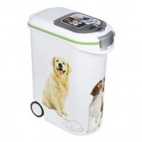 Recipient pentru depozitare hrana animale de companie, plastic, alb, 54 L, 20 kg