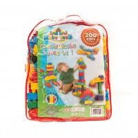 Jucarie creativa, pentru copii, rucsac + cuburi de constructie, din plastic, set 200 de piese
