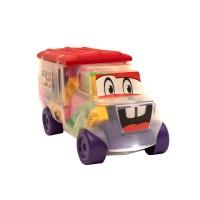 Jucarie creativa, pentru copii, camion + cuburi de constructie, din plastic