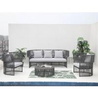 Set masa rotunda, cu 2 scaune + canapea cu perne, pentru gradina Relax Hawaii, din aluminiu cu poliester
