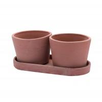 Set Vaso Rotondo cu suport, ceramica, rotund, teracota, 2 buc, 15 x 11 cm