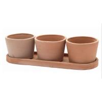 Set Vaso Rotondo cu suport, ceramica, rotund, teracota, 3 buc, 15 x 11 cm