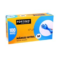 Manusi menaj Nitril Fortino, fara pudra, marimea M, albastru, 100 buc / set
