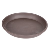 Farfurie ghiveci Olivia, plastic, rotund, maro, D 14 cm