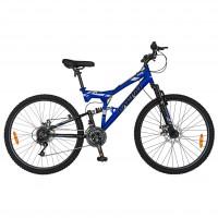 Bicicleta MTB Carpat ZTX C2642A, 26 inch, cadru full suspension, 18 viteze, albastru/ negru