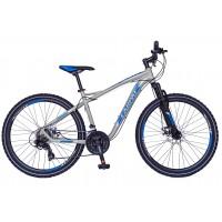 Bicicleta MTB Carpat Galaxy C2693B, 26 inch, cadru aluminiu, frane mecanice disc, transmisie Shimano 21 viteze, gri/ albastru